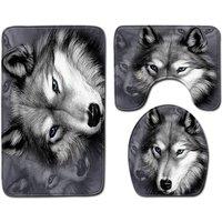 Augienb - 3D Wolf Design Soft Flannel Bathroom Toilet Decor Floor Mat Carpet Set