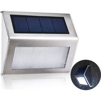 3L-ED Stainless Steel Solar Garden Light for Outdoor Stairs Paths Patio L-ED Solar Street Light (white) - ASUPERMALL