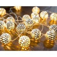 Soekavia - 3M 20 Leds Moroccan String Lights LED Warm White String Lights Oriental White Balls Silver LED String Battery Operated