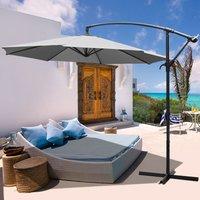 3M Banana Parasol Patio Umbrella Sun Shade Shelter with Cross Base, Light Grey - LIVINGANDHOME