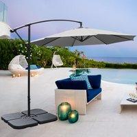 3M Banana Parasol Patio Umbrella Sun Shade Shelter with Petal Base, Light Grey - LIVINGANDHOME