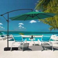 3M Banana Parasol Patio Umbrella Sun Shade Shelter with Rectangular Base, Dark Green