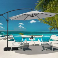 Livingandhome - 3M Banana Parasol Patio Umbrella Sun Shade Shelter with Rectangular Base, Light Grey