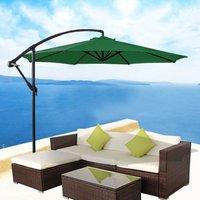 3m Garden Banana Parasol Patio Sun Shade Shelter Crank Hanging Rattan Cantilever Umbrella Green - Greenbay