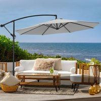 3M Large Garden Hanging Parasol Cantilever Sun Shade Patio Banana Umbrella, Light Grey - LIVINGANDHOME