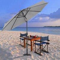3M Large Round Garden Parasol Outdoor Beach Umbrella Patio Sun Shade Crank Tilt, Light Grey - LIVINGANDHOME