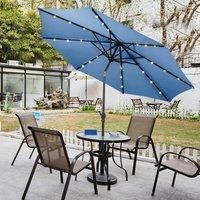 3M Parasol Solar LED lights Umbrella Fairy Sun Shade Crank Patio Outdoor Garden