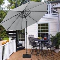 3M Parasol Umbrella Patio Sun Shade Crank Tilt with Square Base, Light Grey - LIVINGANDHOME