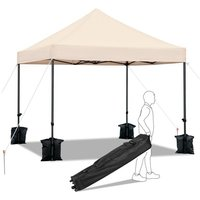 3M x 3M Heavy Duty Commercial Pop-up Canopy Easy Pop Up Gazebo Party Tent Wedding Marquee Garden Outdoor BBQ Party Tent,with Wheeled Carry Bag and