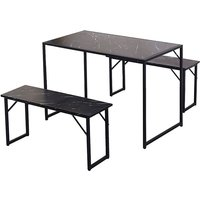 3Pcs Industrial Dining Table Set 1 Table + 2 Benches Black marble