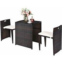 3PC Rattan Furniture Bistro Set Garden Chair Table Patio Outdoor Conversation