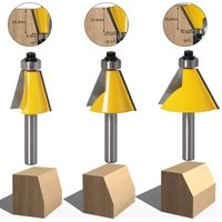 3pcs 8mm Shaft Chamfer and Chamfer Woodworking Tool Wood Cutter (15 degrees + 22.5 degrees + 30 degrees)