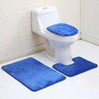 3PCS Bathroom Mat Non-slip Pedestal Mat + Toilet Cover + Bath Mat Set (Dark Blue)