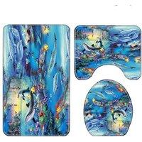 3pcs Blue Sea Dolphin Shower Curtain Waterproof Bathroom Bathtub Bathing Toilet Cover Bath Mat Set