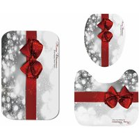 3PCS Christmas Red Bow Toilet Cover Mat