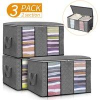 3PCS Clothes Storage Bags Wardrobe Cube Closet Boxes Grey
