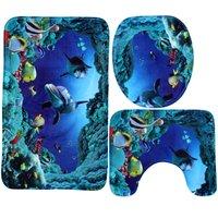 3Pcs In Kit Bath Mat Cover Toilet Cover Blue Shark Home Decor Hasaki