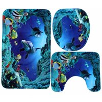 3Pcs In Kit Bath Mat Covers Toilet Cover Blue Shark Home Decor WASHED