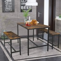 3Pcs Industrial Dining Table Set Dinette Kitchen Bench Table Chair Rustic Style, 1 Table with 2 Benches