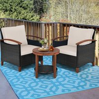 3PCS Outdoor Rattan Bistro Set Garden Patio Wicker Table and Chair Set W/ Cushions