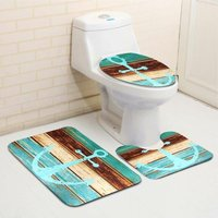 3pcs / set Retro Old Style Boat Anchor Non-slip Mat Bathroom Pedestal Mat + Toilet Seat Cover + Bath Mat WASHED