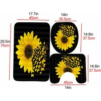 3PCS/Set Sunflower Butterfly Print Shower Curtain Toilet Cover Mat Non-Slip Rug Set