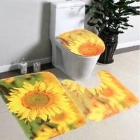 3pcs / set Yellow Sunflower Non-slip Bathroom Pedestal Mat + Toilet Lid Cover + Bath Mat Floor Mat Doormat Home Decor