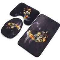 Augienb - 3pcs tiger bathroom decor floor bath mat + pedestal mat + toilet seat