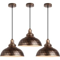 3pcs Vintage Retro Chandelier E27 Socket Pendant Light Industrial Style Hanging Light Metal Shade for Bar Barn Cafe Loft Rust