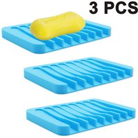 3pcs Waterfall Shower Soap Dish Soap Saver Soap Dish Soap Dish Drainer Flexible Silicone for Shower / Bathroom / Kitchen / Countertop, Easy Clean,