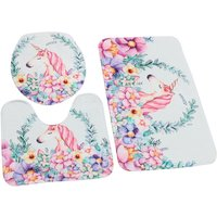 3pcs / White Horse Pattern Bathroom Kit Anti-slip Pedestal Mat + Toilet Lid Cover + Washable Shower Mat