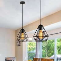 3x Retro Ceiling Lamp Vintage Chandelier Industrial Pendant Light Ø20cm Diamond Hanging Light Black Metal Iron Lamp Shade
