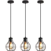 3x Vintage Ceiling Light Metal Round Cage Chandelier Industrial Pendant Lamp for Dining Room, Kitchen, Black E27