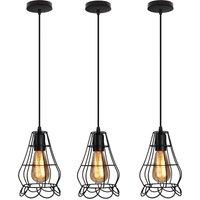 3x Vintage Vase Shape Chandelier Metal Wrought Iron Pendant Light Industrial Cage Ceiling Light for Cafe Bedroom Black
