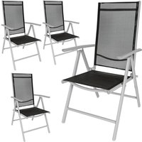 4 aluminium garden chairs - reclining garden chairs, garden recliners, outdoor chairs - black/silver - TECTAKE