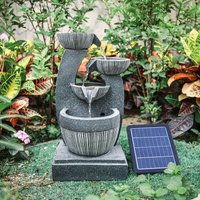 4 Bowls Solar Light Fountain Water Feature With LED Flowing Water Effect Outdoor