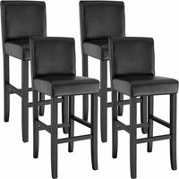 4 Breakfast bar stools made of artificial leather - bar stool, kitchen stool, wooden stool - black