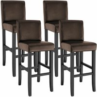 4 Breakfast bar stools made of artificial leather - bar stool, kitchen stool, wooden stool - brown