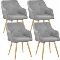 Tectake - 4 Chairs Tanja - desk chair, lounge chair, reading chair - grau
