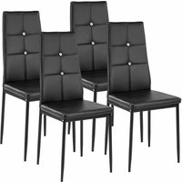 Tectake - 4 dining chairs with rhinestones - dining room chairs, kitchen chairs, dining table chairs - black