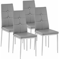 Tectake - 4 dining chairs with rhinestones - dining room chairs, kitchen chairs, dining table chairs - grey