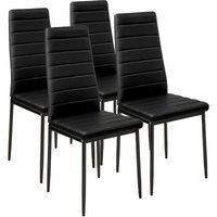 4 dining chairs synthetic leather - dining room chairs, kitchen chairs, dining table chairs - black