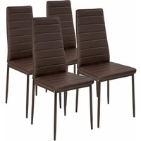 4 dining chairs synthetic leather - dining room chairs, kitchen chairs, dining table chairs - brown