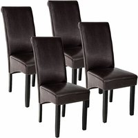 Tectake - 4 Dining chairs with ergonomic seat shape - dining room chairs, kitchen chairs, dining table chairs - brown