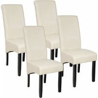 Tectake - 4 Dining chairs with ergonomic seat shape - dining room chairs, kitchen chairs, dining table chairs - cream