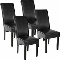 Tectake - 4 Dining chairs with ergonomic seat shape - dining room chairs, kitchen chairs, dining table chairs - black