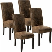 Tectake - 4 Dining chairs with ergonomic seat shape - dining room chairs, kitchen chairs, dining table chairs - antique brown