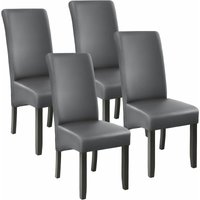Tectake - 4 Dining chairs with ergonomic seat shape - dining room chairs, kitchen chairs, dining table chairs - grey