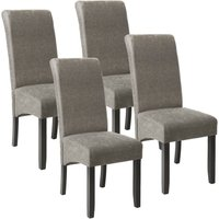 4 Dining chairs with ergonomic seat shape - dining room chairs, kitchen chairs, dining table chairs - gray marbled - TECTAKE