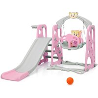 Costway - 4 in 1 Kids Play Toddler Climber and Swing Set Playset Backyard Playground